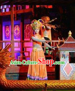 Chinese Dragon Boat Song Tujia Nationality Ethnic Dance Orange Dress Stage Performance Costume and Headpiece for Women