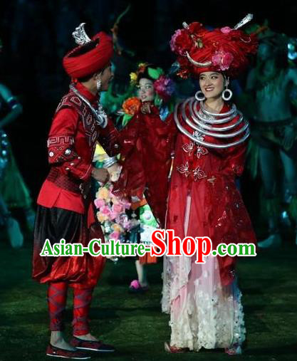Chinese Dragon Boat Song Tujia Nationality Ethnic Wedding Stage Performance Dance Costumes for Women for Men