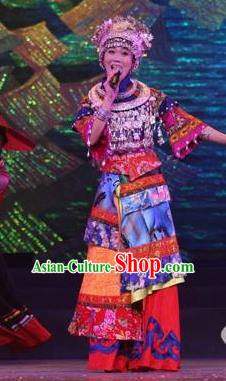 Chinese Dragon Boat Song Tujia Nationality Bride Ethnic Dance Dress Stage Performance Costume and Headpiece for Women