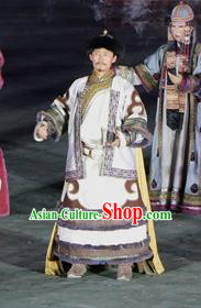 Chinese Impression of Going East To Native Land Mongol Nationality Ubashi Khan Stage Performance Dance White Costume for Men