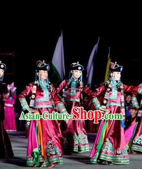 Chinese Impression of Going East To Native Land Mongol Nationality Dance Rosy Dress Stage Performance Costume for Women