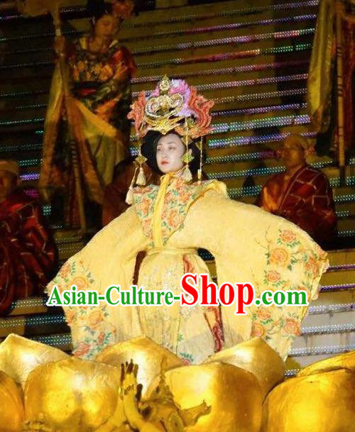 Chinese Mount Tai Worship Ceremony Tang Dynasty Queen Dance Dress Stage Performance Costume for Women