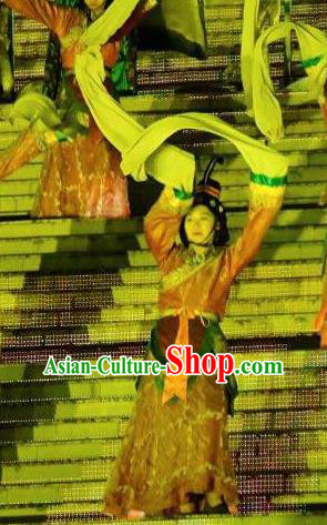 Chinese Mount Tai Worship Ceremony Han Dynasty Classical Dance Dress Stage Performance Costume for Women