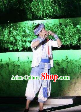 Chinese Dushan Ceremony Bouyei Nationality Dance Stage Performance Costume for Men