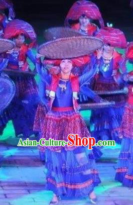 Chinese Dushan Ceremony Bouyei Nationality Dance Blue Dress Stage Performance Costume for Women