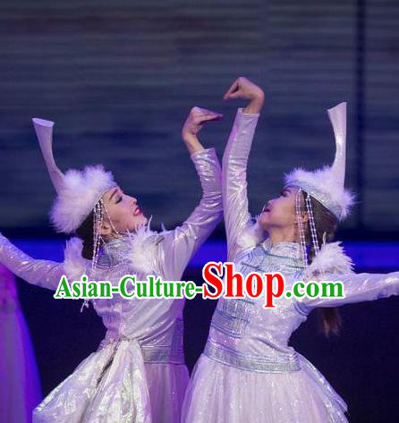 Chinese Impression of Going East To Native Land Mongol Nationality Dance White Dress Stage Performance Costume for Women