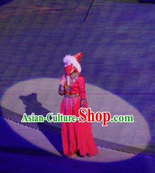 Chinese Buddha Pilgrimages Eastward Ethnic Dance Red Dress Stage Performance Costume for Women