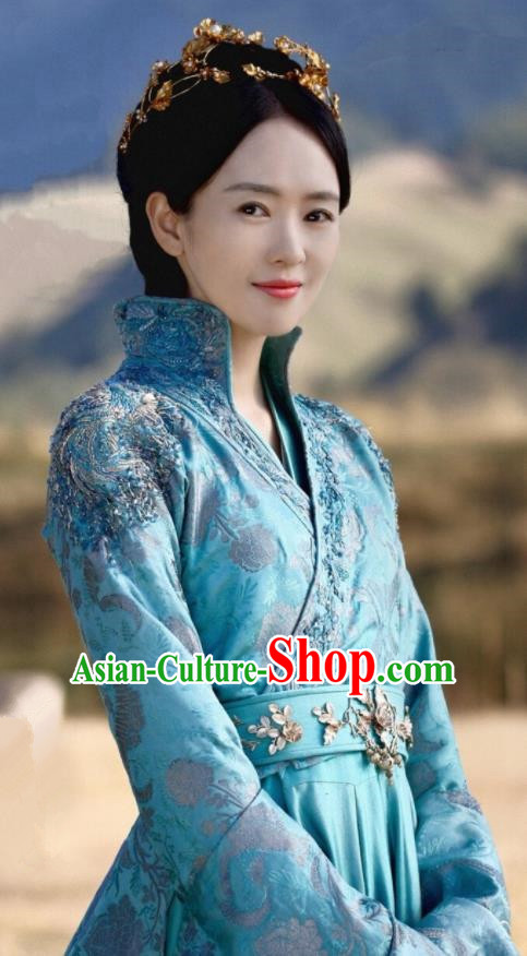 Drama Ever Night Ancient Chinese Royal Infanta Li Yu Blue Dress Traditional Tang Dynasty Court Princess Costumes for Women