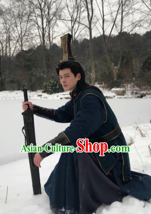 Drama Ever Night Ancient Chinese Swordsman Blue Clothing Traditional Tang Dynasty Prince Costumes for Men