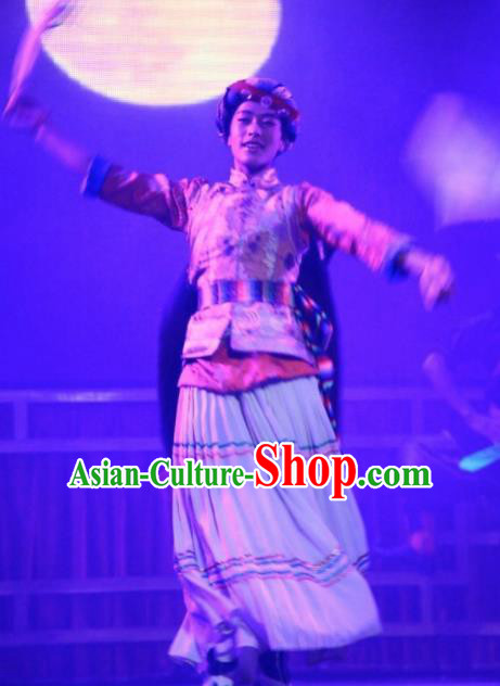 Chinese Impression of Lijiang Naxi Nationality Ethnic Bride Dance Dress Stage Performance Costume and Headpiece for Women