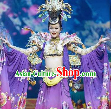 Chinese Impression of Lijiang Naxi Nationality Ethnic Dance Purple Dress Stage Performance Costume and Headpiece for Women