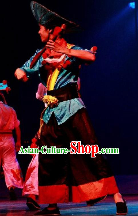 Chinese Impression of Lijiang Naxi Nationality Ethnic Wedding Dance Stage Performance Costume for Men
