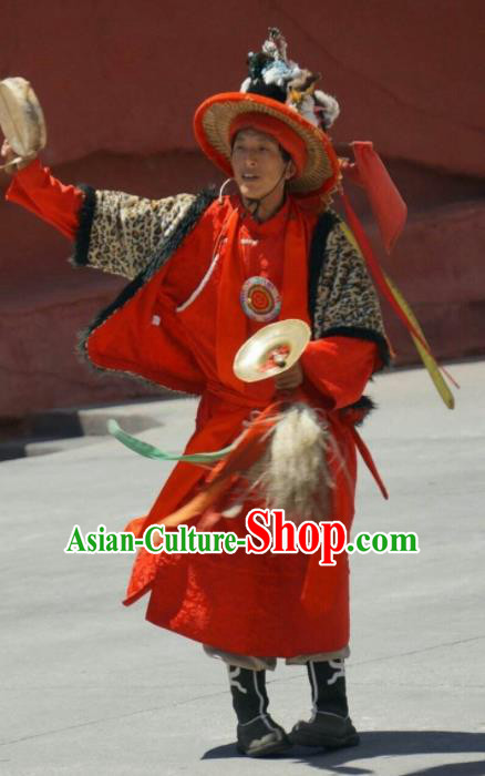 Chinese Impression of Lijiang Naxi Nationality Ethnic Dance Red Clothing Stage Performance Costume for Men