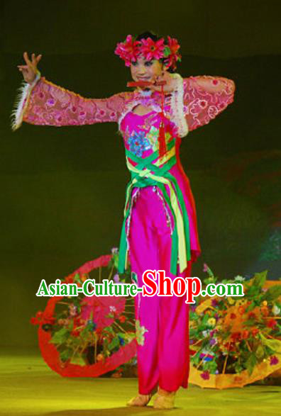 Chinese Hui Nationality Wedding Ethnic Bride Dance Rosy Dress Stage Performance Costume and Headpiece for Women