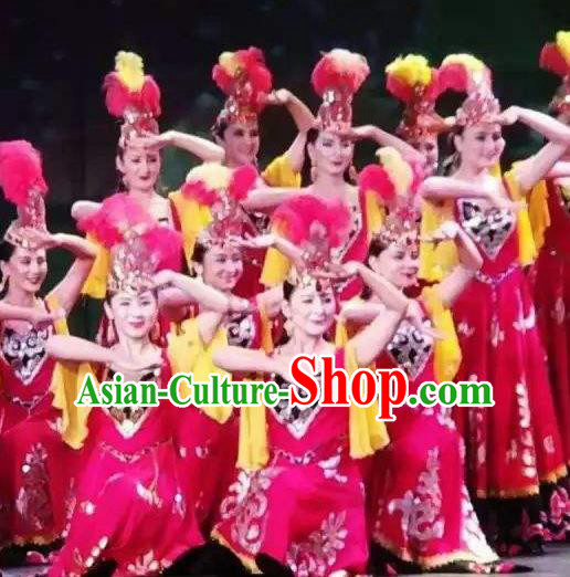 Chinese Silk Road Uyghur Nationality Dance Rosy Dress Ethnic Stage Performance Costume for Women