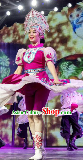 Chinese Silk Road Daur Nationality Dance Rosy Dress Ethnic Stage Performance Costume for Women