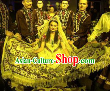 Chinese Silk Road Uyghur Nationality Dance White Dress Ethnic Bride Wedding Stage Performance Costume for Women