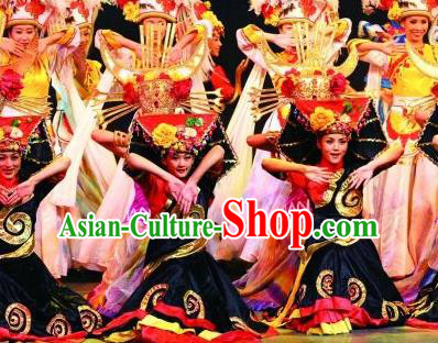 Chinese Lishui Jinsha Yi Nationality Dance Dress Ethnic Stage Performance Costume and Headpiece for Women