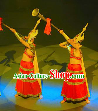 Chinese Lishui Jinsha Nationality Dance Red Clothing Ethnic Stage Performance Costume for Men