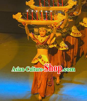 Chinese Lishui Jinsha Dai Nationality Dance Dress Ethnic Stage Performance Costume and Headpiece for Women