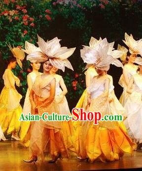 Chinese Lishui Jinsha Classical Dance Dress Stage Performance Costume and Headpiece for Women