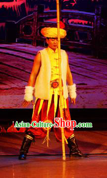 Chinese Lishui Jinsha Yi Nationality Dance Clothing Ethnic Stage Performance Costume for Men