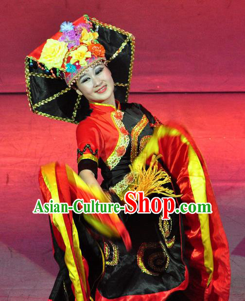 Chinese Lishui Jinsha Yi Nationality Dance Black Dress Ethnic Wedding Stage Performance Costume and Headpiece for Women