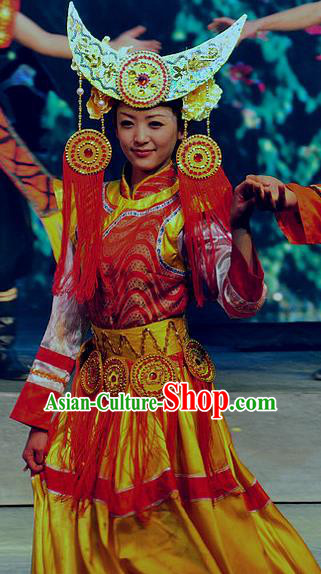 Chinese Lishui Jinsha Yi Nationality Dance Wedding Dress Ethnic Stage Performance Costume and Headpiece for Women