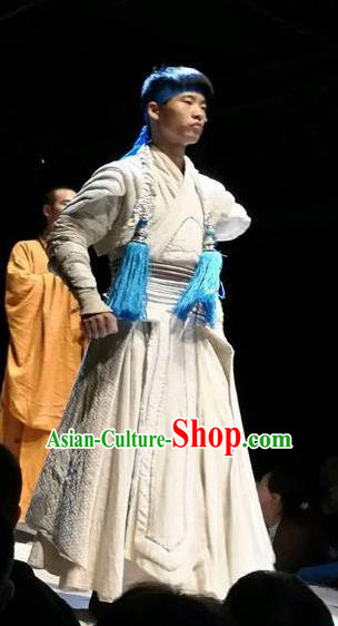 Chinese Encore Dunhuang Tang Dynasty Swordsman White Clothing Stage Performance Dance Costume for Men