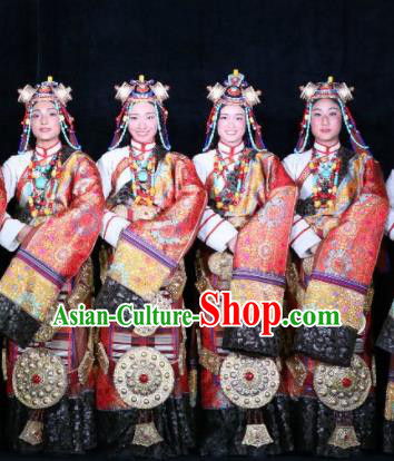 Chinese Encounter Shangri La Impression Tibetan Ethnic Dance Red Robe Stage Performance Costume and Headpiece for Women
