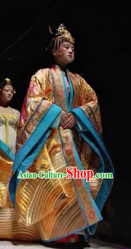 Chinese Encore Dunhuang Tang Dynasty Queen Dance Golden Dress Stage Performance Costume and Headpiece for Women