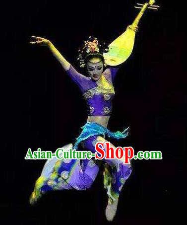 Chinese Encore Dunhuang Classical Dance Purple Dress Stage Performance Costume and Headpiece for Women