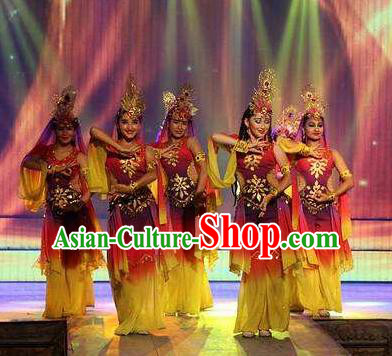 Chinese Turpan Festival Uyghur Nationality Dance Dress Stage Performance Ethnic Costume and Headpiece for Women