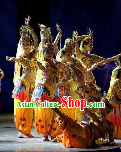 Chinese Turpan Festival Uyghur Nationality Dance Yellow Dress Stage Performance Ethnic Costume and Headpiece for Women