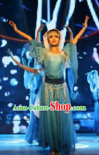 Chinese Turpan Festival Uyghur Nationality Dance Blue Dress Stage Performance Ethnic Costume and Headpiece for Women