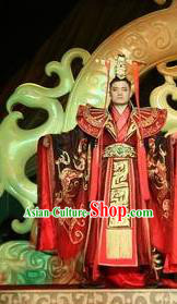 Chinese Shapotou Celebration Han Dynasty Emperor Wedding Clothing Stage Performance Dance Costume for Men