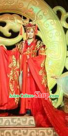 Chinese Shapotou Celebration Han Dynasty Empress Wedding Red Dress Stage Performance Costume and Headpiece for Women