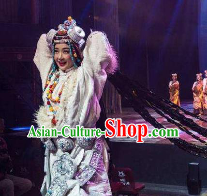 Chinese Encounter Shangri La Impression Tibetan Ethnic Dance White Robe Stage Performance Costume and Headpiece for Women