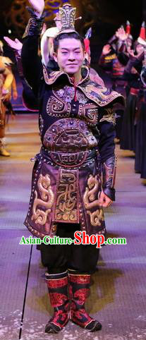 Chinese Shapotou Celebration Qin Dynasty General Body Armor Stage Performance Dance Costume for Men