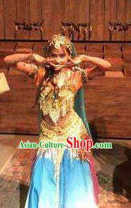Chinese Shapotou Celebration Indian Dance Dress Ethnic Stage Performance Costume and Headpiece for Women