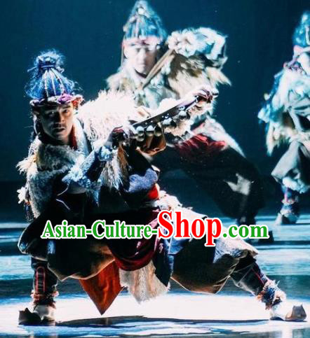 Chinese Encounter Shangri La Impression Tibetan Nationality Dance Robe Stage Performance Costume for Men