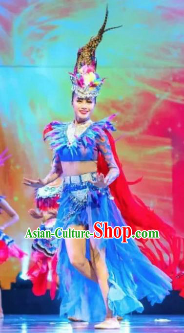 Chinese Jin Show Dan Zhai Miao Nationality Folk Dance Feather Dress Stage Performance Costume and Headpiece for Women