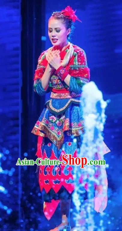 Chinese Jin Show Dan Zhai Miao Nationality Folk Dance Blue Dress Stage Performance Costume and Headpiece for Women