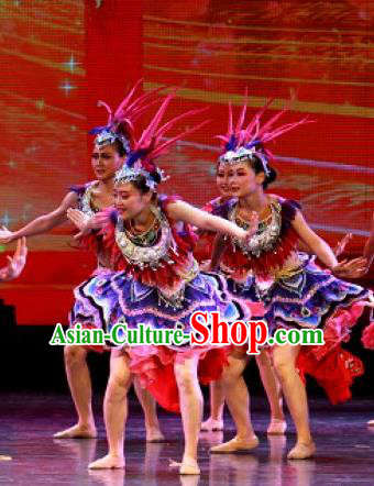 Chinese Jin Show Dan Zhai Miao Nationality Folk Dance Dress Stage Performance Costume and Headpiece for Women