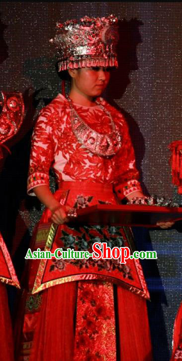 Chinese Jin Show Dan Zhai Miao Nationality Dress Stage Performance Dance Costume and Headpiece for Women