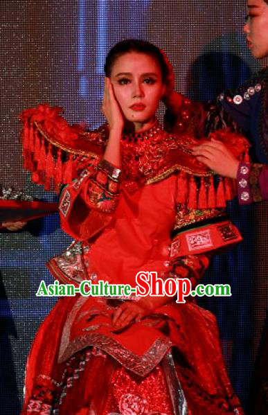 Chinese Jin Show Dan Zhai Miao Nationality Dance Wedding Red Dress Stage Performance Costume for Women