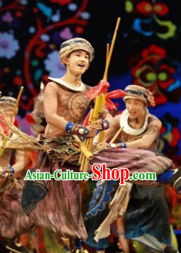 Chinese Jin Show Dan Zhai Miao Nationality Male Dance Clothing Stage Performance Costume for Men