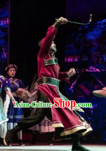 Chinese The Myth Of Snow Mountain Zang Nationality Folk Dance Red Clothing Stage Performance Costume for Men
