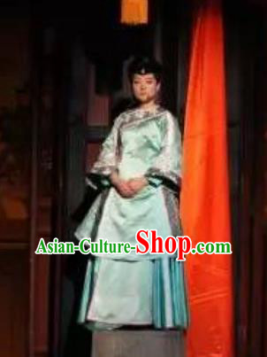 Chinese Encore Pingyao Nobility Lady Green Dress Stage Performance Dance Costume for Women