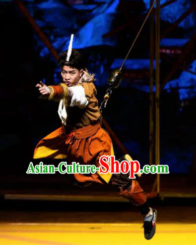 Chinese The Myth Of Snow Mountain Ethnic Dance Hero Outfits Stage Performance Costume for Men